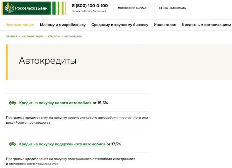 Автокредит в Россельхозбанке: условия