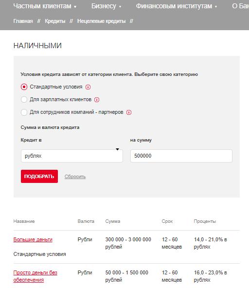 Кредит наличными Росбанк: онлайн заявка