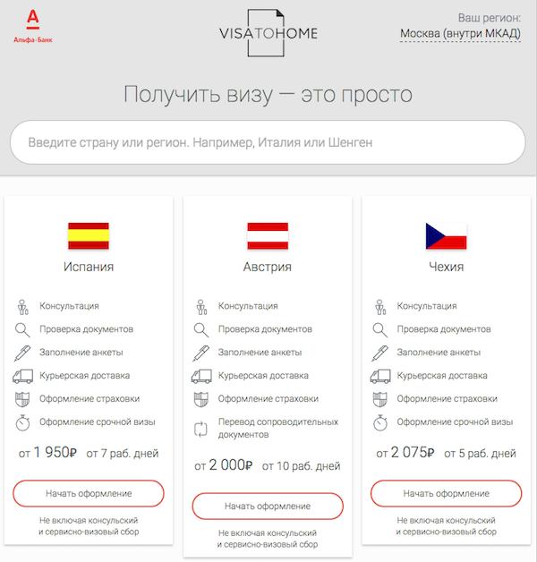 Анкета на шенгенскую визу онлайн через Альфа-Клик