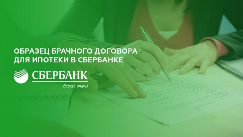 Брачный договор для ипотеки Сбербанка (образец)