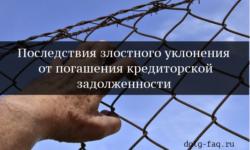 Злостное уклонение от погашения кредиторской задолженности – кому грозит статья 177 УК РФ