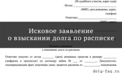 Образец искового заявления о взыскании долга по расписке - как составить и оформить, как и в какой суд подавать документы, шаблон текста, скачать бланк формы