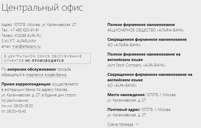 Альфа банк головной офис москва