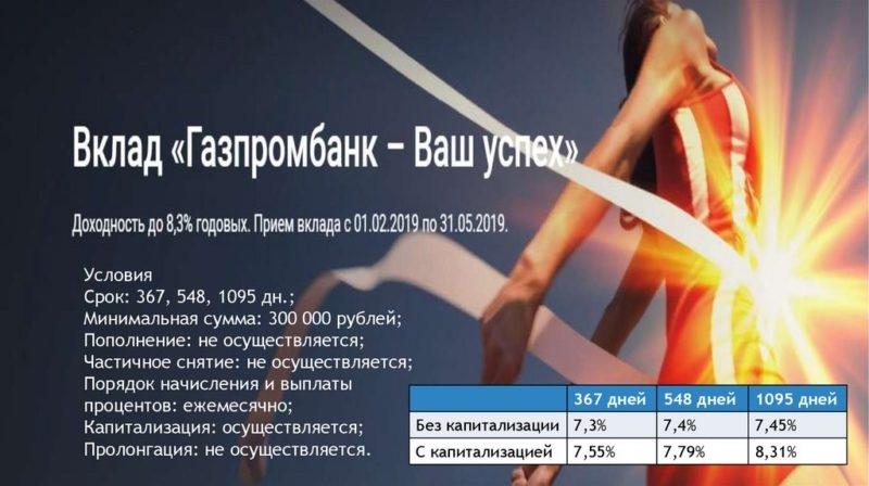"""Вклад """"Ваш успех"""" Газпромбанк: условия"""