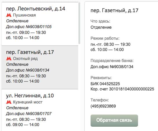 Часы работы отделений Сбербанка в Москве