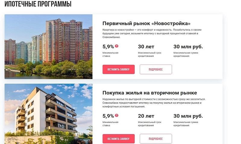 Совкомбанк ипотека: условия и процентные ставки